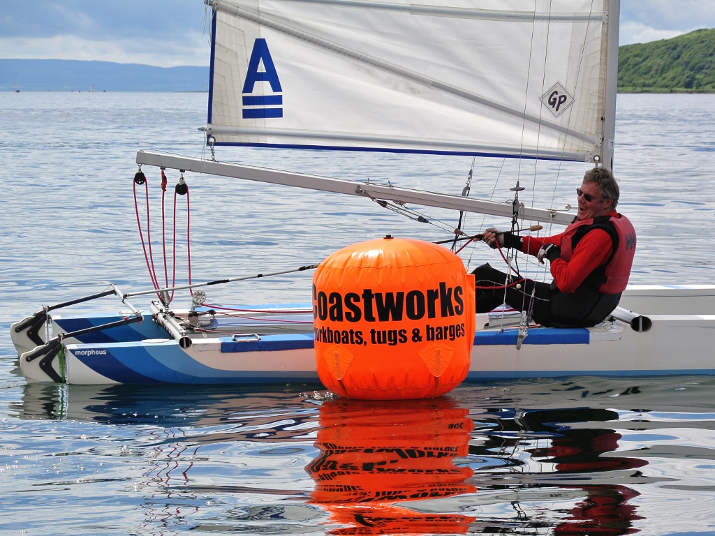 A Class Cat sailing in light winds